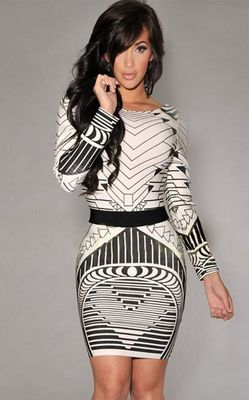 F2308 Sexy Backless Tribal Print Long Sleeve Vintage Dress