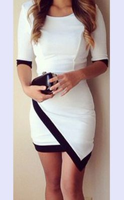 F2312 Chic O-Neck Half Sleeve Nipped Waist Contrast Color Women Bodycon Dress