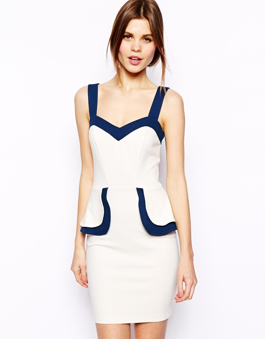 F2317 Pencil Dress With Contrast Peplum
