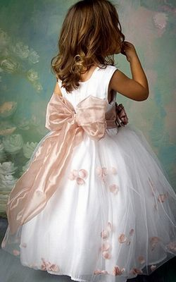 F68005 Princess Scoop Hand-made Flower Floor-length Tulle Flower Girl Dresses