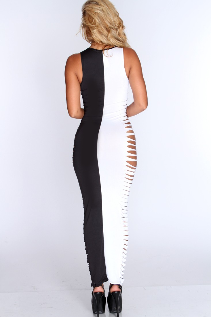 F5056-1 Hot White Black Razor Cutout Sides Sexy Maxi Dress