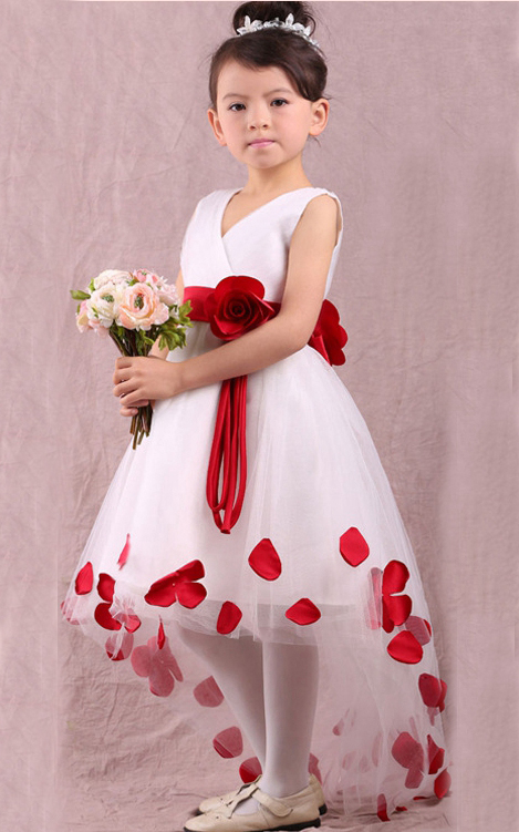 F68016-1 V-neck  flower girl dress