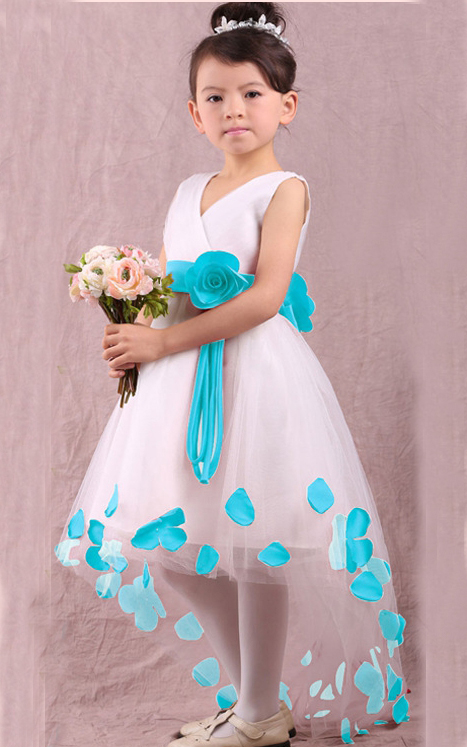 F68016-2 V-neck  flower girl dress