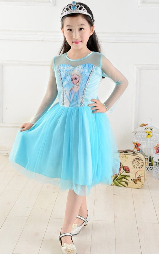 F68021 Frozen chiffon long-sleeved dress