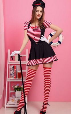 F1526Candy Striped Mime Costume