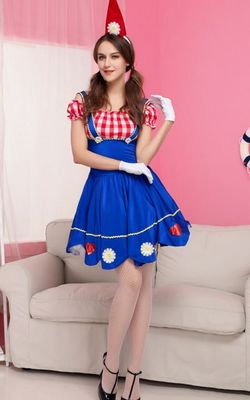 F1533   2015 New Blue Women Halloween Maid Costume