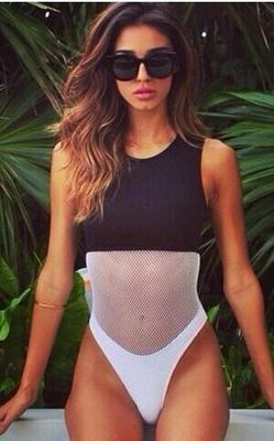 F4324black and white patchwork mesh Net One Piece swimsuit