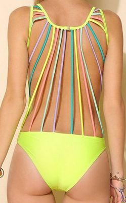 F4345Lovey String-Back One-Piece Swimsuit