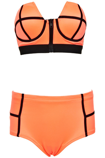 F4359-1High Waist Bikini With Zipper