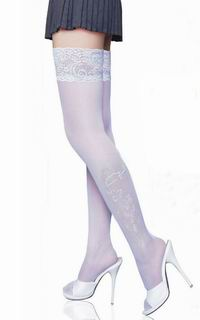Lace Decorated Flower Printing Stockings