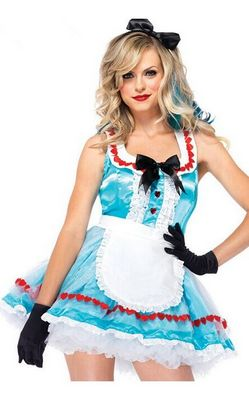 F1534 ALICE IN WONDERLAND COSTUME WITH GLOVES