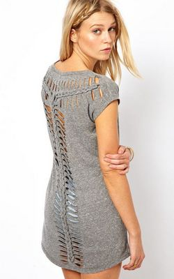 F2336-1 Back T Shape Hollow Out Short Sleeve Gray T-shirt