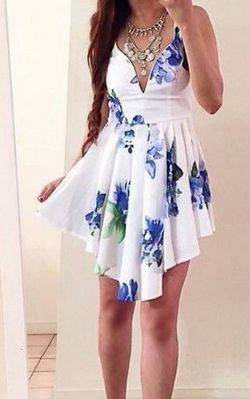 F2363  Irregular V-Neck Print Dress