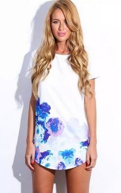 F2395 Stylish Round Neck Short Sleeve Printed Chiffon Womens Dress