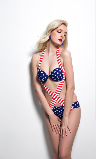 F4469 2015 new women flag swimwear one piece