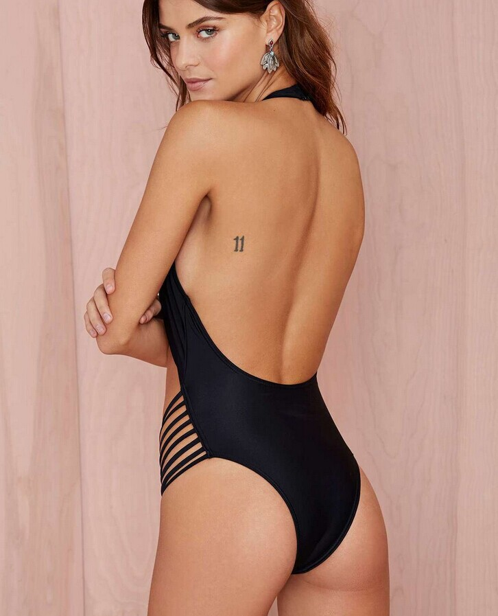 F4471-1 Black Lattice Cut Out Monokini