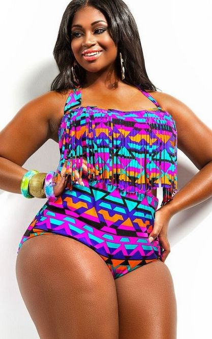F4472-1  Tribal Print Plus Size Fringed Two Piece Swimwear