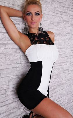 F2429 elegant white and black lace dress