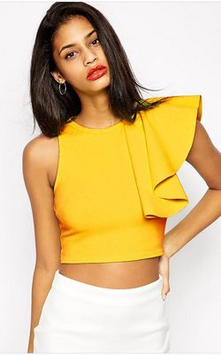 F2434-2 Sexy Summer Cropped Ruffle Yellow Top