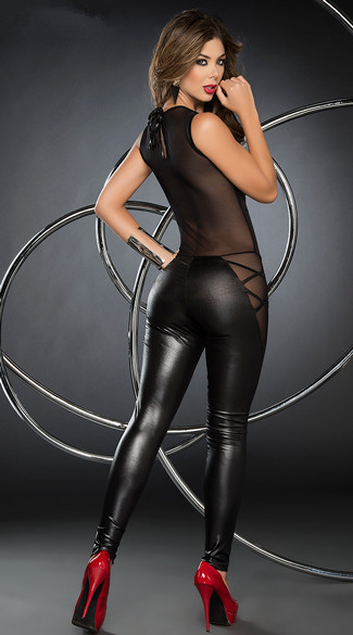 F9071 WETLOOK JUMPSUIT WITH SHEER UPPER BACK