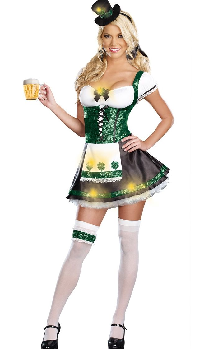 F1562 St Patricks Day Outfit Irish Girl Costume Adult Fancy Dress