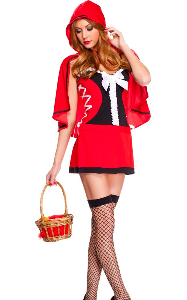 F1582 Lace Up Red Riding Hood Costume