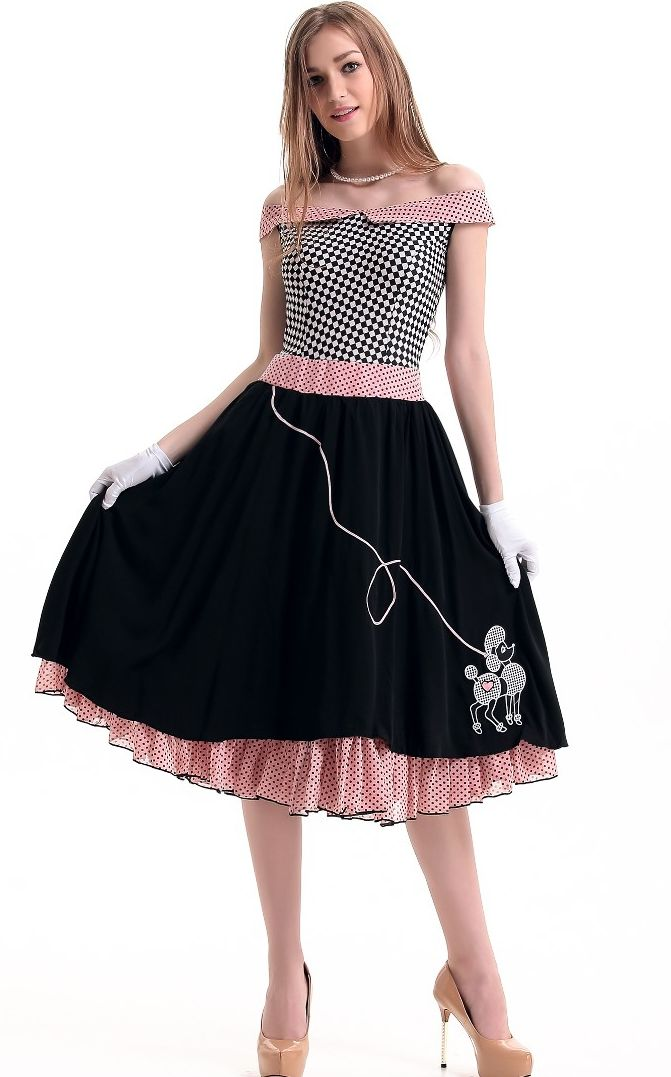 F1583 1950s Grease Bopper Poodle Pin Up Costume