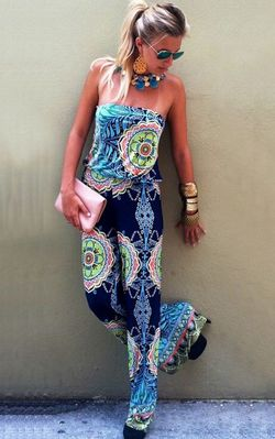 F2438-2 Blue Tribal Print Strapless Wide Leg Jumpsuit