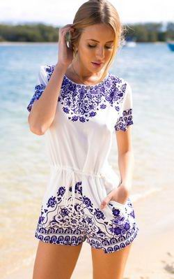 F2439 Blue and White Porcelain Playsuit