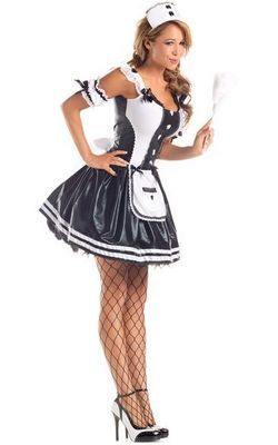 F66155 Grey French Maid Costume Dress