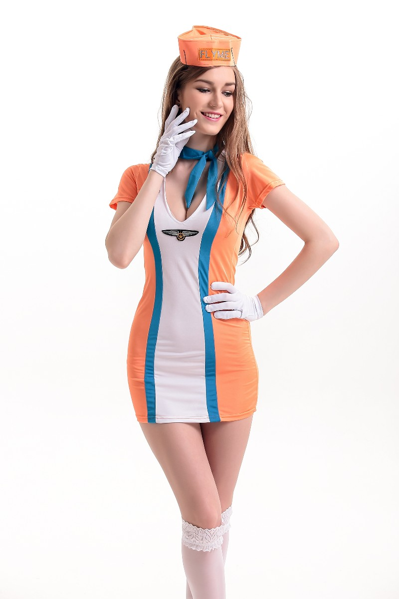 F66166 Wholesale Womens Fashion Orange Stewardess Costumes