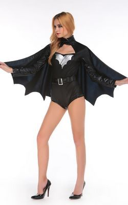 F66176 Womens Sexy Adult Halloween Batman Costume Black