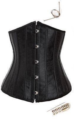F66355 Black steel boned corset
