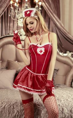 F1598 Sexy winter girl, chic red dress costumes, cosplay dress Nurse and doctor