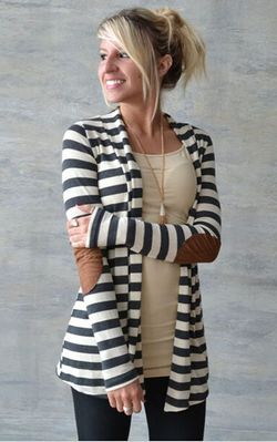 F2447 Black and White Striped Long Sleeve Cardigan
