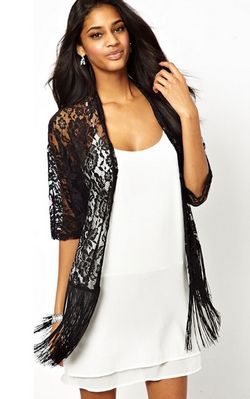 F2459 Hollow Out See Through Tassel Hem Batwing Sleeve Lace Jacket