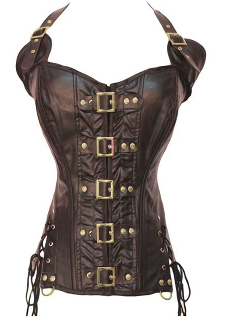 F9074 BROWN STEAMPUNK CORSET