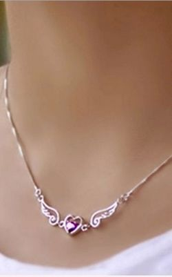 SS11001-1  S925 sterling silver Angel lovers  necklace
