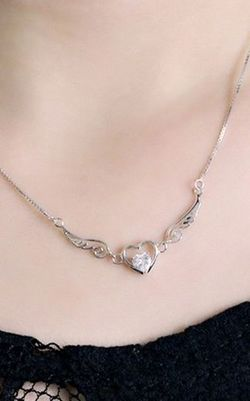 SS11001-2  S925 sterling silver Angel lovers  necklace