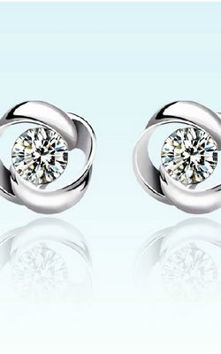 SS11002 S925 sterling silver diamond earrings retro style