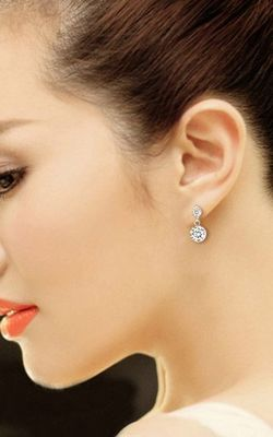 SS11005 S925 Silver Super Flash diamond earrings