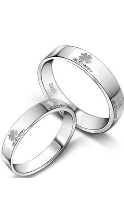 SS11063 S925 Silver Clover couple rings