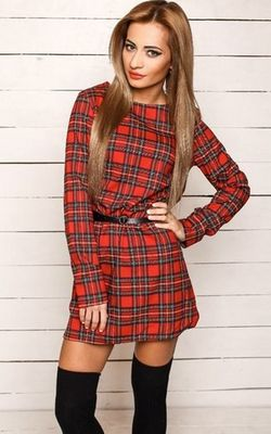 W24005-2 Long Sleeve Plaid Print Shift Dress