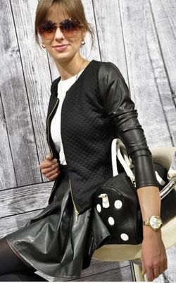 W24007-2 jacket with leather sleeves