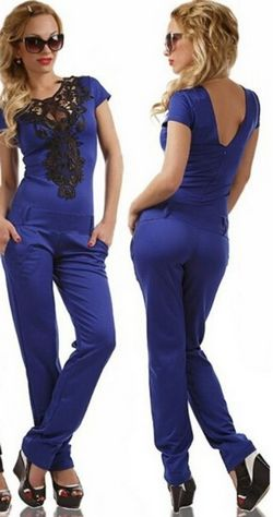 W24037-2 Women s jumpsuit with lace