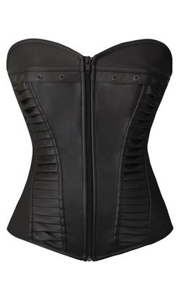 F9075-1 Black Corset with zipper front closure corset