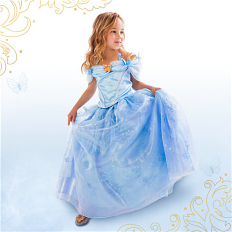 F68036 Girls Kids Children Cinderella Fancy Princess Palace Cosplay Dress