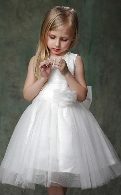 F68037-2 Girls white dress white flowers 2015 summer children dresses princess