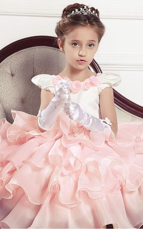 F68038 Gorgeous Kids Floral Party Dress in Baby Pink and White Color