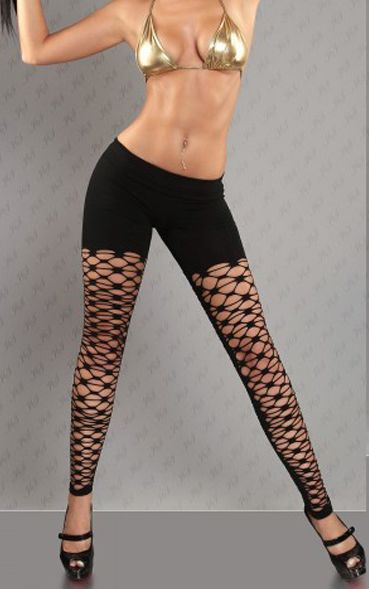 F8471 Sexy leggings neri pantacollant a rete diamante